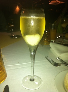 My lychee infused champagne at La Plage restaurant, right on the beach.