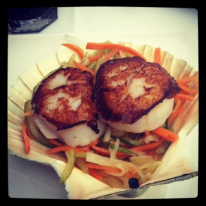 Amazing detox lunch of Scallops and warm salad for lunch at The Bayerischerhof Spa Cafe