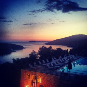 View from the pool bar: The stunning sunset over Sivota Bay overlooking the pool.