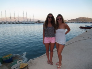 Alanna and I in Kalamos Marina after finding blissful showers on dry land!