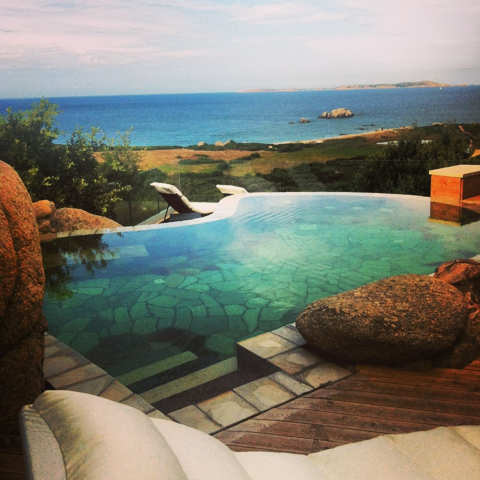 The private pool of the presidential suite at La Liccolia Hotel, Sardinia