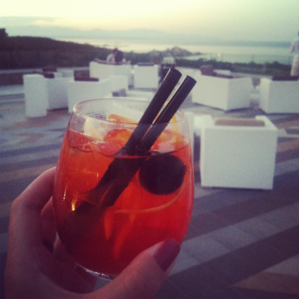 Aperol spritzer on the terrace to start the evening