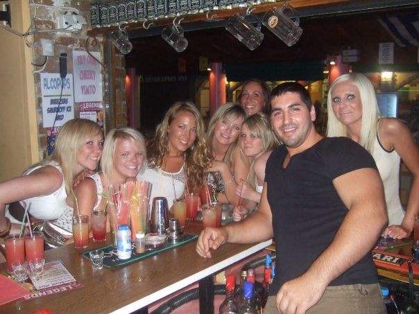Here I am (third from the left) at the tender age of 18 celebrating the end of A-Levels with my friends on a package holiday in Kavos!