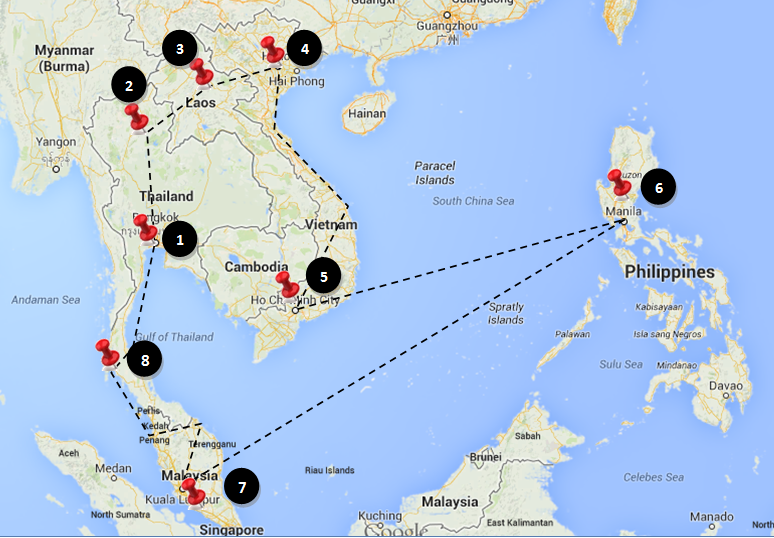 3 month travel itinerary for South-East Asia
