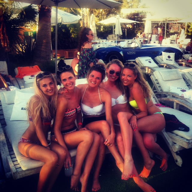 Me and the girls on our Bacardi branded sun loungers
